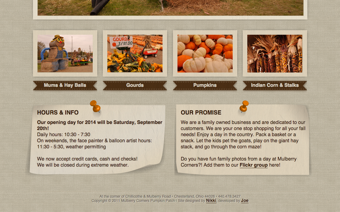 Mulberry Corners Pumpkins Website Preview Image 2